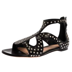 Alexander McQueen Black Leather Studded Cage Flat sandals Size 41