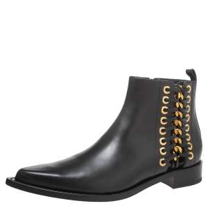 Alexander McQueen Black Leather Rivet Biker Eyelet Detail Ankle Boots Size 41