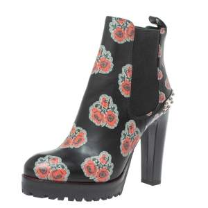 Alexander McQueen Black Leather Poppy Flower Print Ankle Boots Size 38