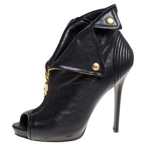 Alexander McQueen Black Leather Faithful Skull Peep Toe Booties Size 40