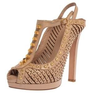 Alexander McQueen Beige Leather Studded Slingback Platform Sandals Size 38