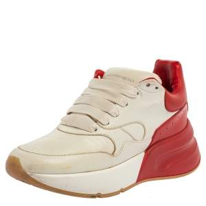Alexander McQueen White/Red Leather Oversized Runner Low Top Sneakers Size 36