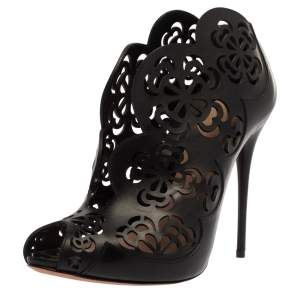 Alexander McQueen Black Floral Laser Cut Leather Peep Toe Booties Size 39