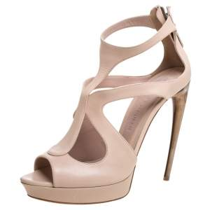 Alexander McQueen Beige Leather Strappy Platform Sandals Size 41