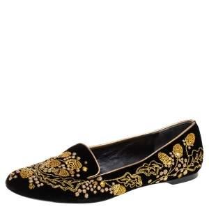 Alexander McQueen Black/Gold Velvet Embroidered Acorn Smoking Slippers Size 36