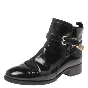 Alexander McQueen Black Leather Chain Detail Buckle Ankle Boots Size 38