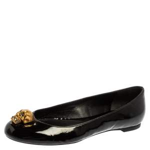 Alexander McQueen Black Patent Leather Embellished Skull City Ballet Flats Size 36