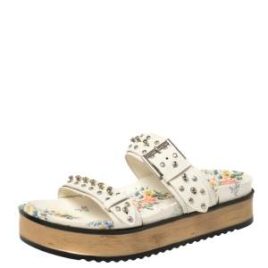 Alexander McQueen White Leather Studded Platform Flat Sandals Size 41