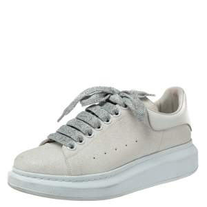 Alexander McQueen White Glitter Low Top Sneakers Size 40