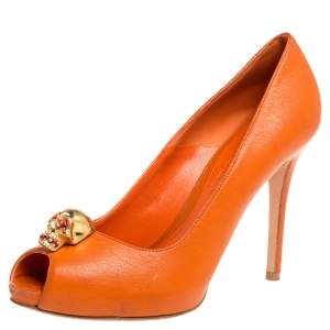 Alexander McQueen Orange Leather Skull Peep Toe Pumps Size 37.5