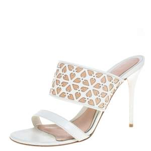 Alexander McQueen White/Beige Leather Laser Cut Sandals Size 40