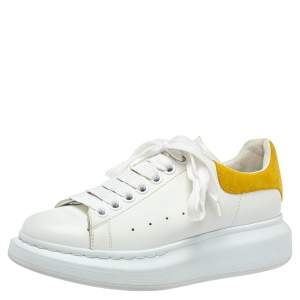 Alexander McQueen White/Yellow Leather And Suede Oversized Sneakers Size 37.5