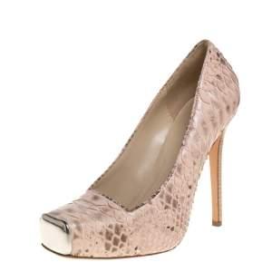 Alexander McQueen Blush Pink Python Platform Pumps Size 39