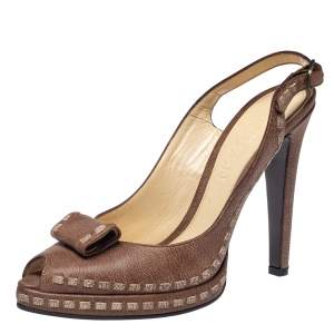 Alexander McQueen Brown Leather Peep Toe Slingback Sandals Size 39
