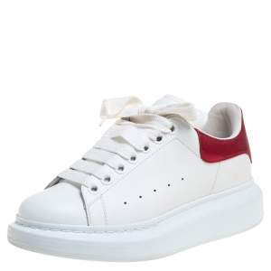 Alexander McQueen White Leather Oversized Low Top Sneakers Size 37.5