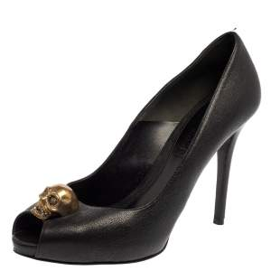 Alexander McQueen Black Leather Peep Toe Skull Pumps Size 39.5