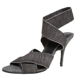 Alexander Wang Black/Grey Fabric Cross Strap Sandals Size 40