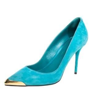 حذاء كعب عالى ألكساندر ماكوين مقدمة مدببة سويدى أزرق مقاس 39.5