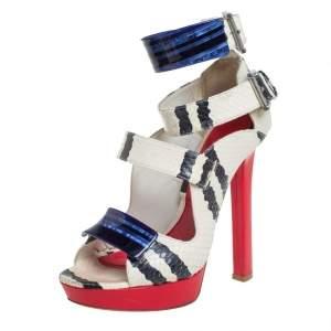 Alexander McQueen Multicolor Python And Leather Platform Ankle Strap Sandals Size 38