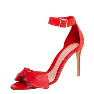 Alexander McQueen Red Suede And Leather Bow Embellished Ankle Strap Sandals Size 40