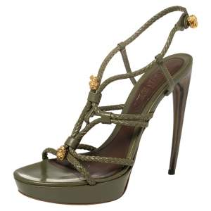 Alexander McQueen Olive Green Rope Strap Leather Horn Heel Platform Sandals Size 39.5
