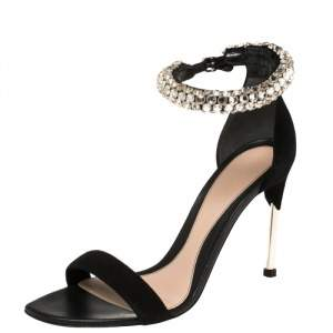 Alexander McQueen Black Suede Crystal Embellished Ankle Cuff Sandals Size 39