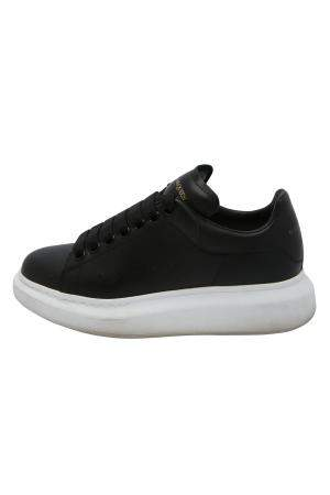 Alexander McQueen Black Leather Larry Sneakers Size EU 37.5