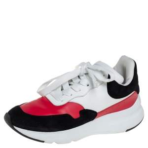 Alexander McQueen Multicolor Leather And Suede Oversized Runner Low Top Sneakers Size 38.5