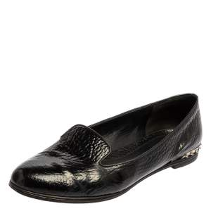 Alexander McQueen Black Leather Smoking Slippers Size 41