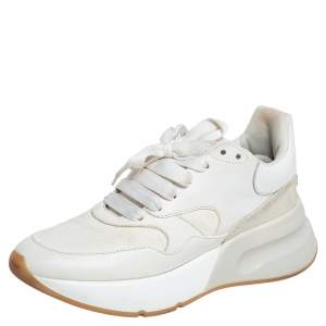 Alexander McQueen White Leather And Suede Lace Up Sneakers Size 39