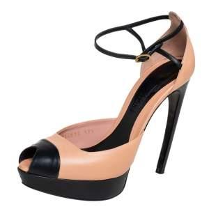 Alexander McQueen Beige/Black Leather Peep Toe Ankle Strap Platform Sandals Size 37.5