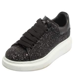 Alexander McQueen Black/White Glitter Runway Sneakers Size 36