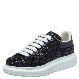 Alexander McQueen Multicolor Leather And Glitter Lace Up Sneakers Size 38