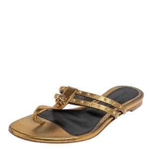 Alexander McQueen Metallic Gold Leather Embellished Skull Flat Thong Sandals Size 38