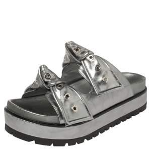Alexander McQueen Metallic Grey Leather Birkenstock Rivet Bow Tie Slide Sandals Size 37