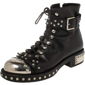 Alexander McQueen Black Leather Cap Toe Studded Ankle Boots Size 39