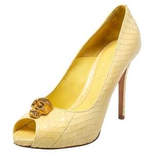 Alexander McQueen Light Yellow Python Leather Skull Peep Toe Pumps Size 38.5