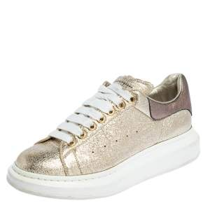 Alexander McQueen Gold Foil Leather Oversized Low Top Sneakers Size 41