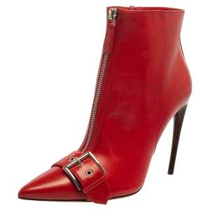 Alexander McQueen Red Leather Ankle Length Boots Size 41