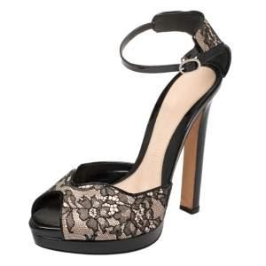 Alexander McQueen Black/Blush Pink Lace And Satin Ankle Strap Platform Sandals Size 36