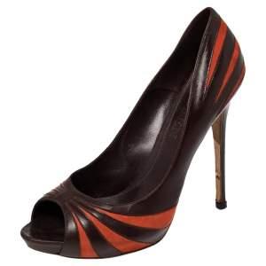 Alexander McQueen Brown/Orange Leather Tiger Scratch Peep Toe Pumps Size 40.5