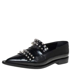 Alexander McQueen Black Leather Studded Pointed-Toe Loafer Size 36