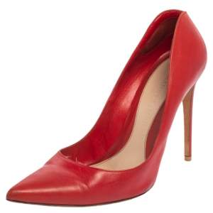 Alexander McQueen Red Leather Pointed Toe Pumps Size 40
