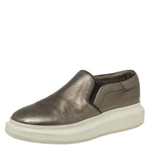Alexander McQueen Metallic Leather Slip On  Sneakers Size 38