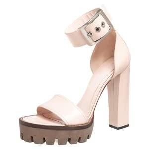 Alexander McQueen Blush Pink Leather Ankle Strap Platform Sandals Size 40