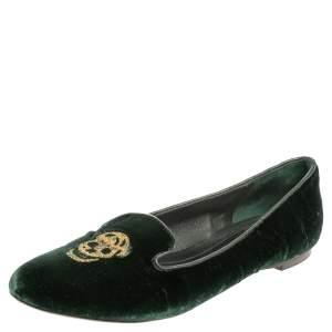 Alexander McQueen Green Velvet Skull Smoking Slippers Size 36.5