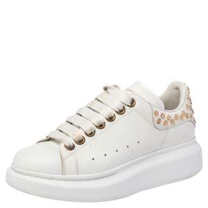 Alexander McQueen White Leather Studded Oversized Sneakers Size EU 35