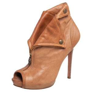 Alexander McQueen Brown Leather Faithful Skull Peep Toe Ankle Boots Size 38