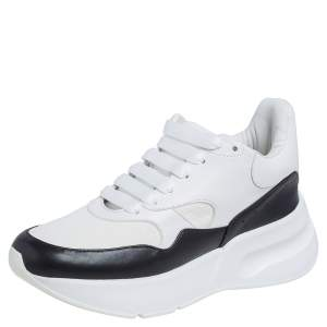 Alexander McQueen Black/White Leather and Fabric Oversized Runner Low Top Sneakers Size 37.5