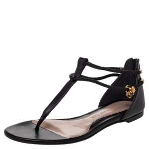 Alexander McQueen Black Leather Skull Embellished Thong Flat Sandals Size 38